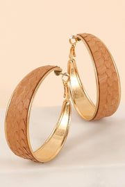 Snake Skin Hoop Earrings