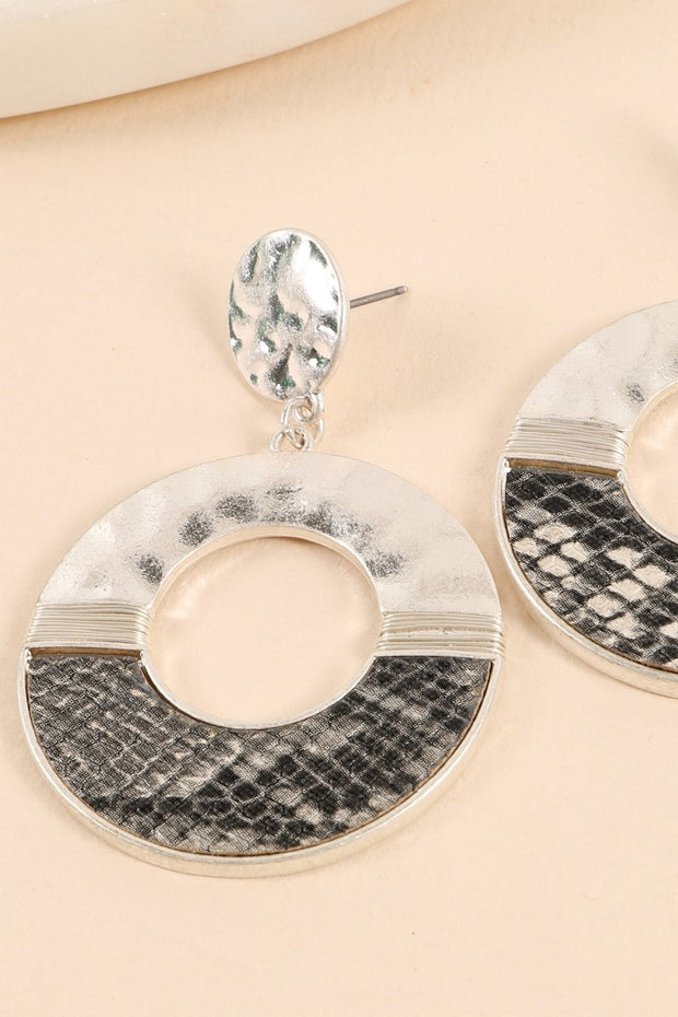 Animal Print Hammered Metal Round Drop Earrings