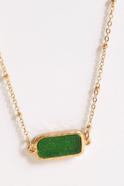 Druzy Stone Bar Short Necklace