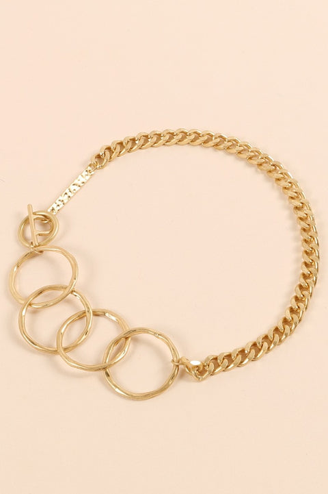 Metal Chain Linked Circles Short Necklace
