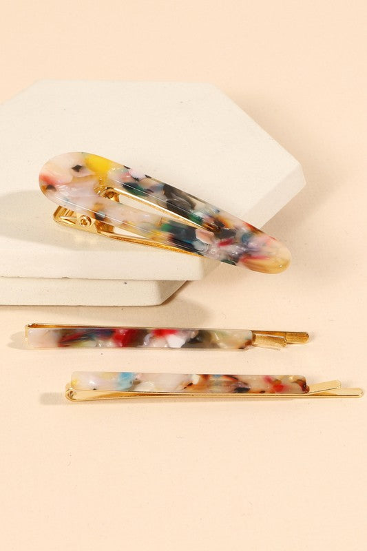 Acetate Bobby Pins Set of Three