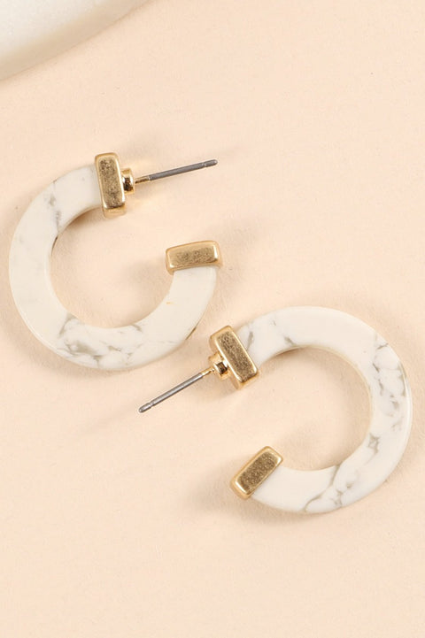 Natural Stones Mini Open Hoop Earrings