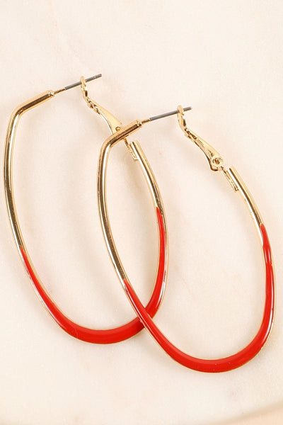 Enamel Oval Hoop Earrings