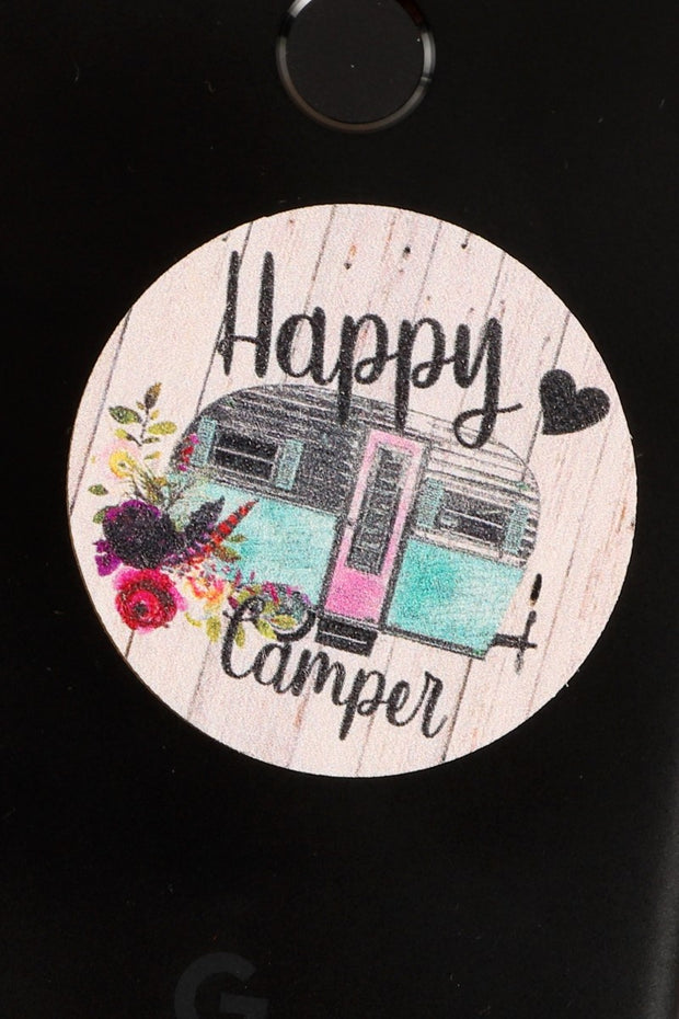Happy Camper Wooden Self Adhesive Charm