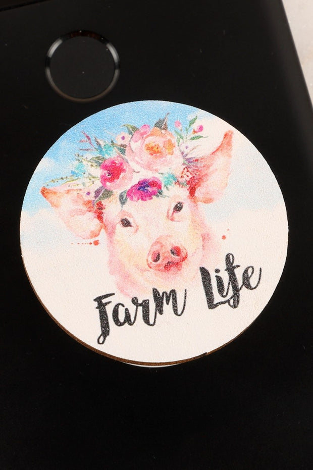 Pig Farm Life Wooden Self Adhesive Charm