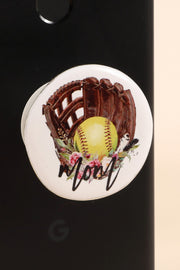 Softball Mom Print Self Adhesive Charm