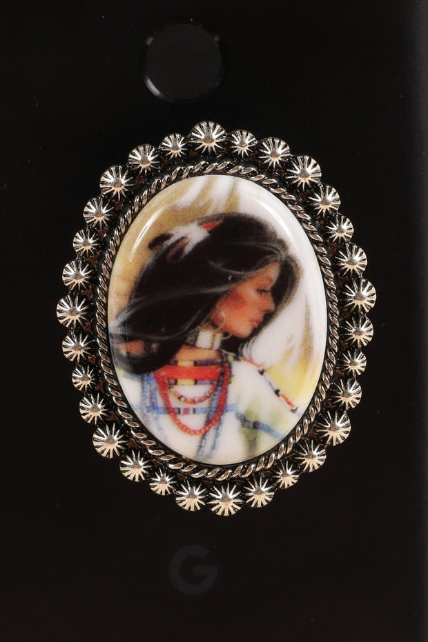 Western Native Woman Self Adhesive Charm