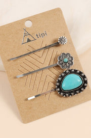 Western Style Natural Stones Bobby Pins Set