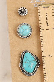 Western Design Natural Stones Stud Earrings Set