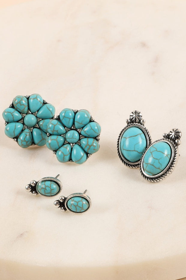 Western Design Natural Stones Stud Earring Set