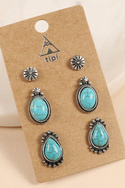Western Design Natural Stones Studs Earrings Set