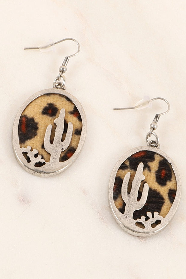 Western Cactus Serape Leopard Earrings