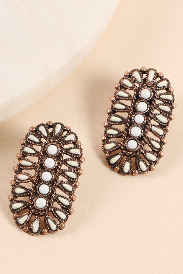 Western Oval Natural Stones Stud Earrings