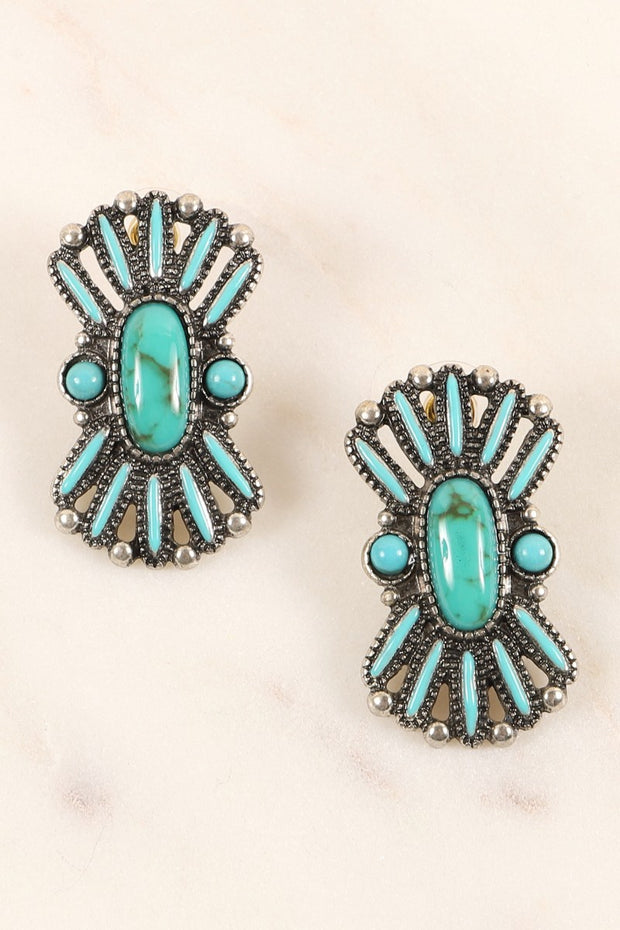 Western Design Natural Stones Stud Earrings