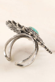 Western Inspired Natural Stone Adjustable Metal Ring