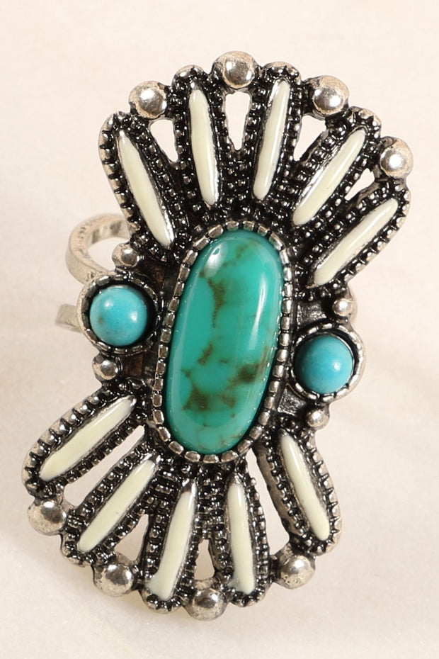 Western Inspired Natural Stones Adjustable Metal Ring