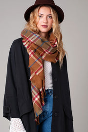 Multi Color Plaid Square Scarf