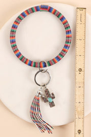 Serape Print PU Leather Cactus Charm Key Ring