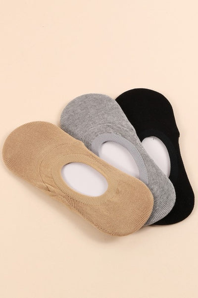 3 Pair Assorted Pack of No Show Socks