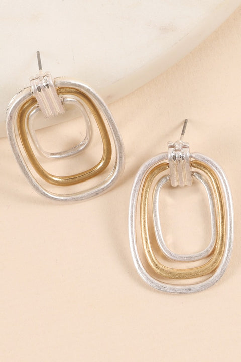 Layered Square Mini Metal Drop Earrings
