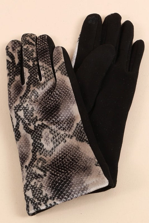 Snake Print PU Leather Gloves