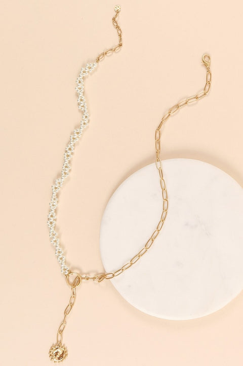 Pearls Chain Linked Charm Long Necklace