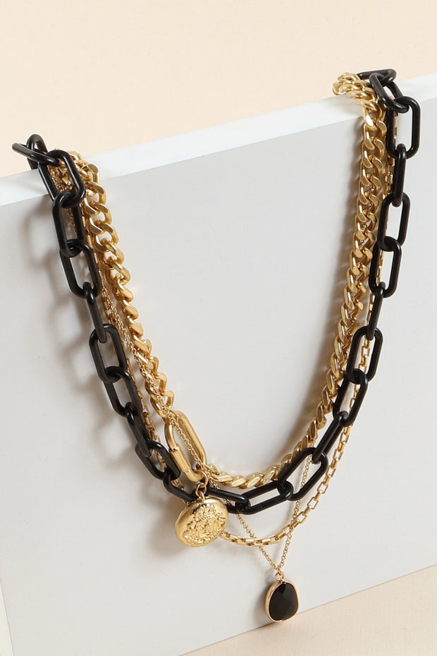 Layered Chain Linked Charms Short Necklace