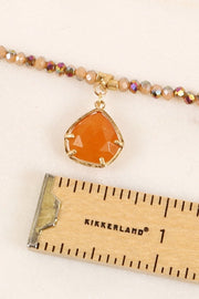 Natural Stones Pendant Glass Beaded Short Necklace