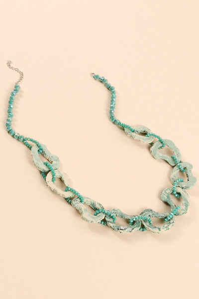 Acetate Rings Glass Beads Long Necklace