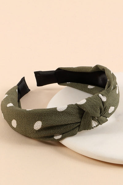 Polka Dot Print Knotted Head Band