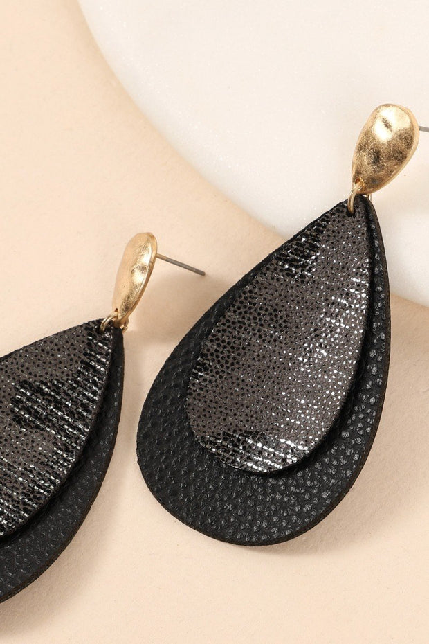 Layered Tear Drop Leather Earrings