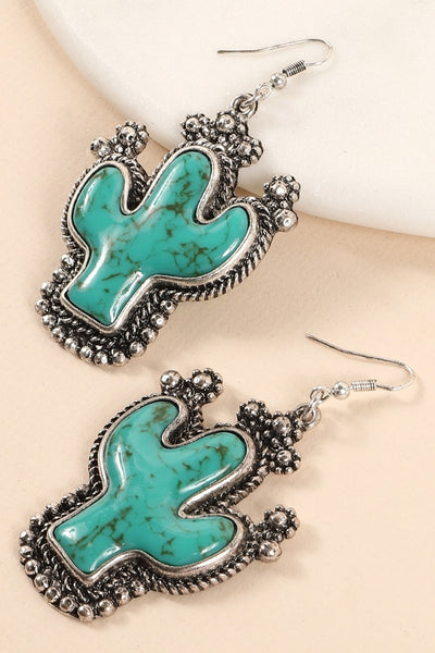 Western Cactus Natural Stones Dangling Earrings