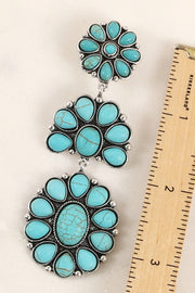 Western Natural Stones Clip On Dangling Earrings