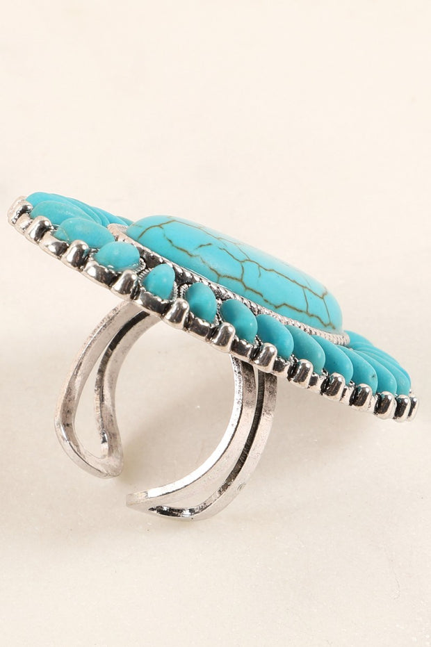 Western Inspired Natural Stone Adjustable Ring