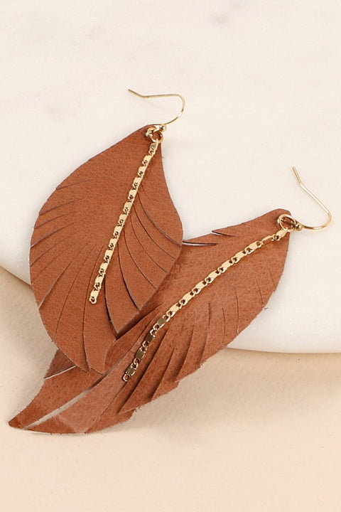 Metal Chain PU Leather Feather Earrings
