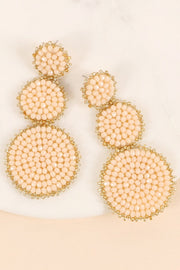 Glass Beaded Round Linked Dangling Earrings