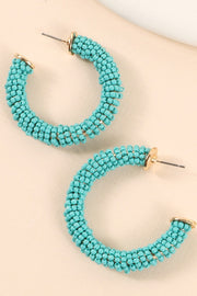Seed Beads Small Open Hoop Earrings
