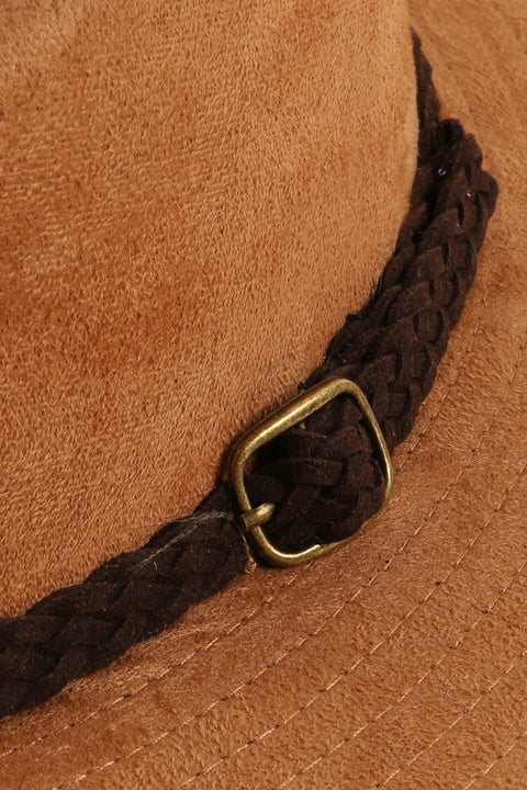 Faux Braided Leather Strap Faux Suede Panama