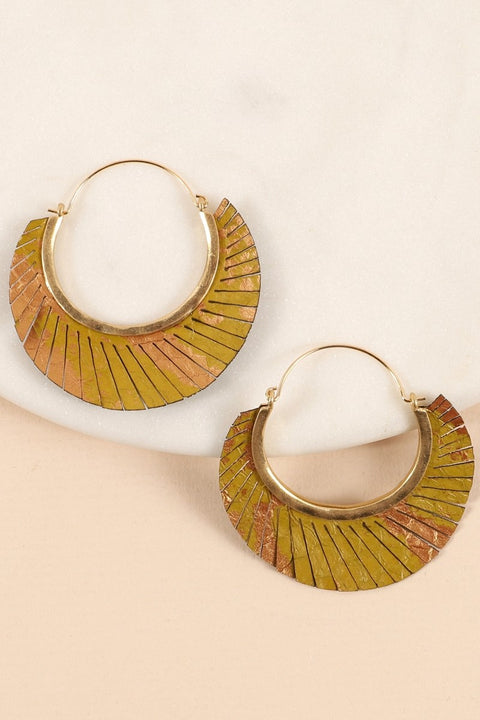 Fringed Leather Hoop Earrings