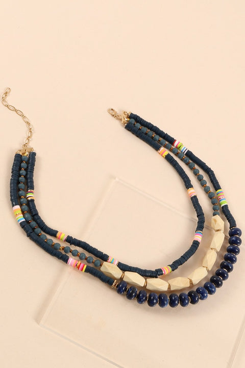 Wood Rubber Stones Beads Layered Necklace