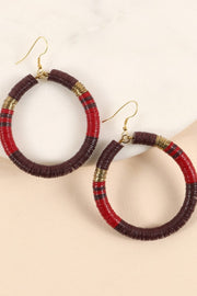Rubber Metal Disc Round Earrings
