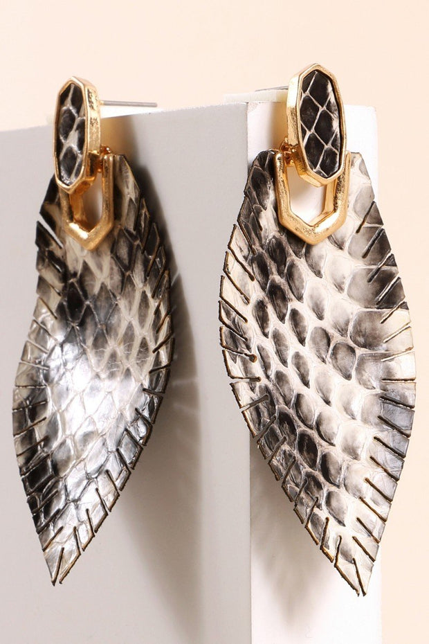 Snake Skin Embossed PU Leather Drop Earrings