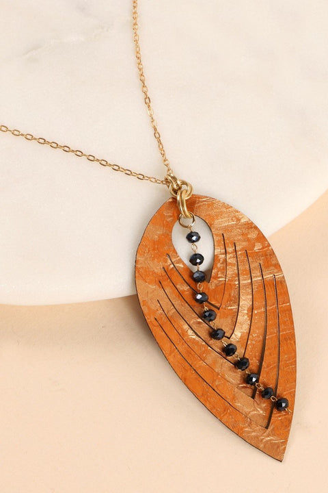 PU Leather Glass Beads Chain Long Necklace