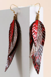 Snake Skin Embossed PU Leather Layered Earrings