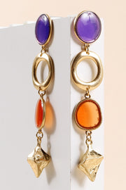 Glass Stone Metal Charm Dangling Earrings