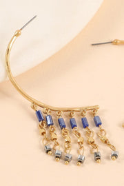 Glass Beads Metal Fringe Open Hoop Earrings