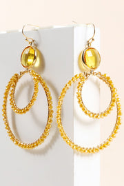 Glass Beads Layered Round Dangling Earrings