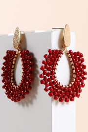 Tear Drop Glass Seed Beads Drop Earrings