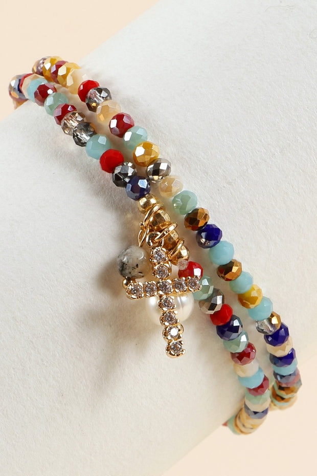 Cross Pearl Stone Glass Beaded Stretch Bracelet