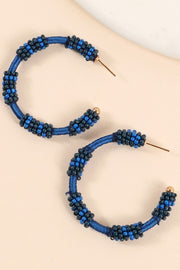 Seed Beads Thread Wrapped Open Hoop Earrings